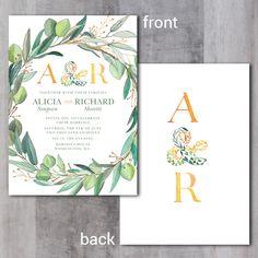 Leafy Wreath Monogram Wedding Invitation