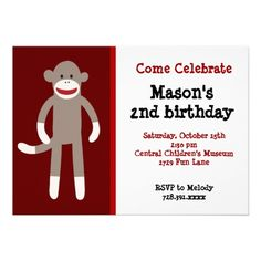 Sock Monkey Birthday Party Invitations