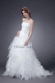 Spectacular Empire Strapless Organza Ruffling Chapel Train Wedding Dress