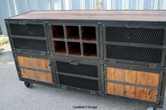 Custom Made Liquor Cabinet/ Bar. Vintage/Modern Industrial Reclaimed Wood & Steel Urban (Media Console/Credenza)