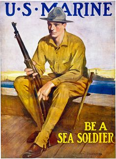 U.S. Marine WWI recruitment poster. Illustrated by Clarence F. Underwood, 1917. Nice wall decorations!