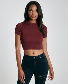 Ribbed Sweater Knit Mock Neck Crop Tee | Wet Seal