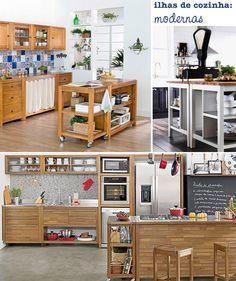 Ilhas para a cozinha com visual moderno.