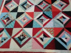 twin size red turquoise and black quilt by 4quiltsandmore on Etsy