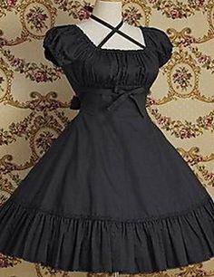 One-Piece/Dress Classic/Traditional Lolita Vintage Cosplay Lolita Dress Red / Black / Gray / Fuschia Short Sleeve Knee-length Pure Color Dress – USD $ 99.99