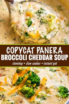 This copycat Broccoli Cheddar Soup is SO hearty and rich, and made in just one p. - This copycat Broccoli Cheddar Soup is SO hearty and rich, and made in just one pot on your stovetop - Crock Pot Recipes, Crockpot Dishes, Cooker Recipes, Yummy Recipes, Dinner Recipes, Broccoli Crockpot, Instapot Soup Recipes, Easy Crockpot Soup, Food Dinners
