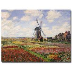Claude Monet 'Tulip Fields with Rijnsburg Windmill 1886' Canvas Art