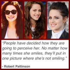 They finally said it! To all those who think kristen stewart is nothing and emotionless, you are wrong! She is human just like us! Ans she smiles (just like us)! Kristen Stewart, Twilight Saga, Twilight Sparkle, Robert Pattinson And Kristen, Perfect Boy, My Escape, Film, Equality, My Idol