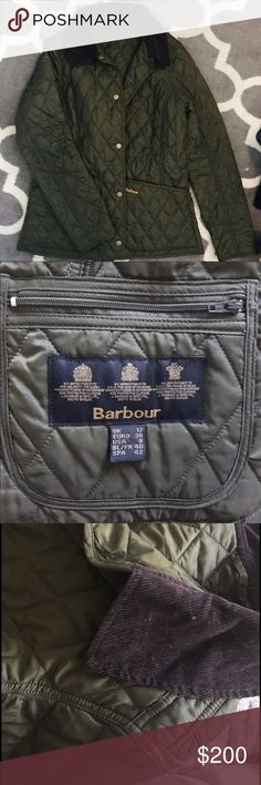 Barbour annandale green quilted jacket Perfect for fall or a mild california winter! Only worn once over a sweater. Looks brand new, and might as well be! I'm normally a 6 but bought an 8 so i could layer up underneath. Feel free to comment with any questions, and i'm open to offers! Barbour Jackets & Coats