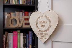 Drewniany proporczyk dla dziecka w kształcie serca / pendant heart