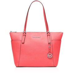 Michael Michael Kors Jet Set Large Top Zip Tote (876.090 COP) ❤ liked on Polyvore featuring women's fashion, bags, handbags, tote bags, coral, pocket tote bag, tote bag purse, handbags tote bags, tote handbags and pocket purse