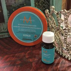 Moroccan Oil Restorative Hair Mask & Oil Hair mask is for weekend and damaged hair 8.5 ounce and also Moroccan oil light treatment is a sample size Moroccan Oil Other