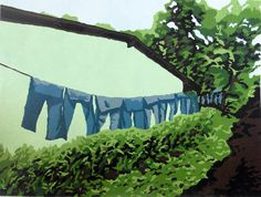 Jeans on the Line linocut relief print by MelissaNeesHauger, $70.00