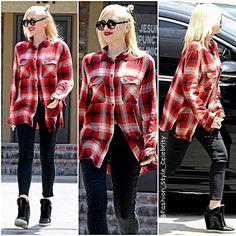 #gwenstefani #plaidshirt #croptop #wow #beige #look #lookbook #awesome #good #kiss #pretty #socialite #fashionista #fashion #stylish #style #celebrityfashion #celebrity #celebritystyle #celebritylook #gorgeous #chic #trend #trendy #heels #sweet #hat #shades #thevoice... - Celebrity Fashion