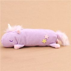 cute fluffy plush light purple unicorn pencil case from Japan 1
