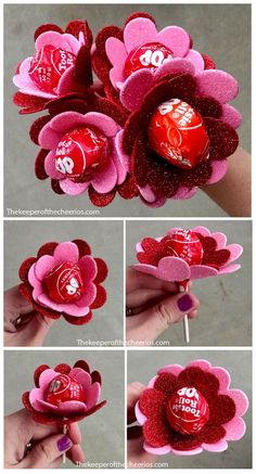 Heart Flower Sucker Valentine Treat. A perfect and easy to make gift using tootsie Roll Pops .