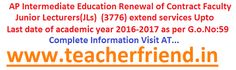AP Intermediate Education Renewal of Contract Faculty Junior Lecturers(JL) (3776) working in Government Junior Colleges in the state of A....