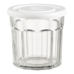 """A knock-off of the French jelly jar, the """"working glass"""" tumbler doubles as storage container when used with its lid. Made in the US for Crate & Barrel. (14 Oz) $2.50"""