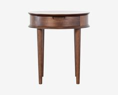 Dania - Our Juneau end table has a light, mid century look with splayed tapered legs. Constructed from solid beech with a walnut veneer. Includes one drawer with French