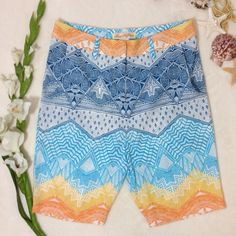 """MARA HOFFMAN Printed Crepe Bermuda Shorts These beautifully designed Mara Hoffman Bermuda shorts in a sunny pattern will be perfect for that barbecue, or your next beach or pool party! Semi sheer crepe fabric will keep you cool, front zip with 2 hook closure, 3 pockets. Buddy 100% polyester lining 3% spandex 97% polyester. Dryclean. Approx flat meas: length 18.5"""", inseam 8"""", waist 14.5"""" leg opening 8"""". EUC - no rips stains holes Mara Hoffman Shorts"""
