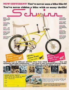 Schwinn bicycle ad from Boys Life Magazine, July 1968 Retro Advertising, Vintage Advertisements, Vintage Ads, Bmx, Karting, Cool Bicycles, Cool Bikes, Velo Biking, Banana Seat Bike