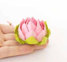 Items similar to Pink origami lotus flower - paper decorations - favors on Etsy Origami Lotus Flower, Lotus Flower Art, Origami Flowers Tutorial, Flower Tutorial, Origami Frog Instructions, Origami Bookmark Corner, Origami Owl Core, Origami Owl Bracelet, Origami Mobile