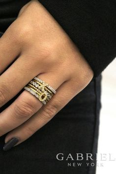 Gabriel - 14k Yellow Gold and white gold stackable Ladies Diamond Rings. Peep more here ! -> https://www.gabrielny.com/stackable