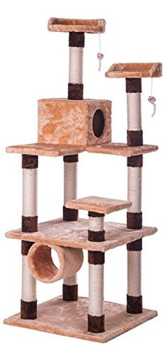 Merax Cat Activity Tree Condo Furniture Scratching Post Beige and Coffee (Beige-NO.1) -- Click here for more details @