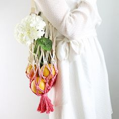 How to make a macrame produce bag for your farmer's market haul