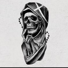 Half Sleeve Tattoos Drawings, Skull Sleeve Tattoos, Skeleton Tattoos, Leg Tattoo Men, Body Art Tattoos, Hip Tattoo Designs, Skull Tattoo Design, Tattoo Design Drawings, La Santa Muerte Tattoo