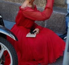 lady in a red dress...