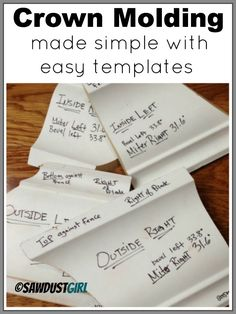 crown molding made simple with templates - http://sawdustgirl.com