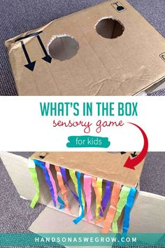 DIY sensory game that's easy to making using supplies you already have!  This toddler and preschooler activity will have your kids guessing what's in the box! Sensory Games, Sensory Activities Toddlers, Gross Motor Activities, Outdoor Activities For Kids, Preschool Learning Activities, Activity Games, Hands On Activities, Toddler Preschool, Fun Activities