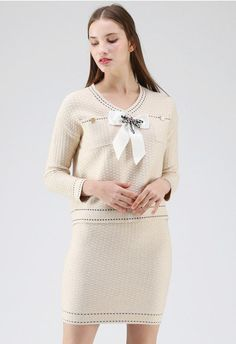 Timeless Elegance Knit Top and Skirt Set in Cream