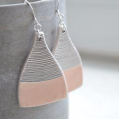 geometric ceramic earrings on sterling silver hooks
