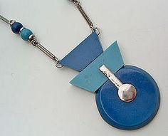 Jacob Bengel Art Deco Chrome and Galalith Necklace