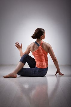 half spinal twist basic yoga pose for beginners