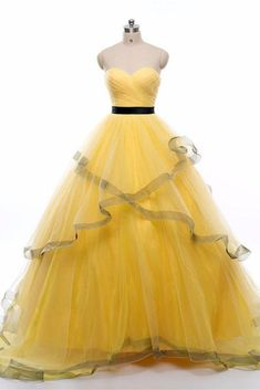 Yellow sweetheart tulle long prom dress, yellow evening dress, Customized service and Rush order are available Dresses Short, Sweet 16 Dresses, A Line Prom Dresses, Tulle Prom Dress, Formal Dresses, Dress Long, Prom Gowns, Bridal Dresses, Wedding Dress