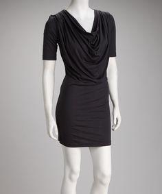 Charcoal Cowl Neck Dress