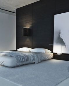 Chambre minimaliste en noir et blanc #bedroom #minimal #black white Garage, ideas, man cave, workshop, organization, organize, home, house, indoor, storage, woodwork, design, tool, mechanic, auto, shelving, car.