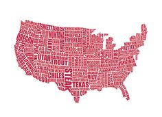 A typographic gastronomy map of America by LucyLovesThis cc: @Jennifer S