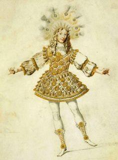 """Louis XIV, dans le costume d'Apollon, du balet des """" Nonces de Thétis et Pélée, en 1654 Henri de Gissey"""