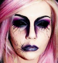 maquillaje halloween, halloween make up Halloween Makeup Looks, Halloween Kostüm, Halloween Cosplay, Purple Halloween, Halloween Costumes, Goth Makeup, Zombie Makeup, Dark Makeup, Creepy Makeup