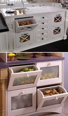 15 Insanely Cool Ideas for Storing Fresh Produce Storing fresh produce correctly and safely is also a great way to save your money and food. Tomatoes, potatoes, garlic, onions and … Diy Kitchen Storage, Kitchen Cabinet Organization, Home Decor Kitchen, Kitchen Furniture, New Kitchen, Home Kitchens, Diy Furniture, Space Kitchen, Space Saving Kitchen