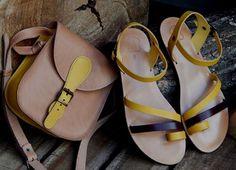 Shoulder bag No 1 maching to sandal ARTEMIS ..... natural .... bright yellow .... dark brown details .....
