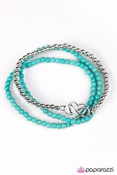 PAPARAZZI COLLECT MOMENTS BLUE & SILVER BRACELET ~ AMAZING PAPARAZZI COLLECT MOMENTS BLUE & SILVER HAS THE BEADED BANGLE STYLE WITH A HEART AND INFINITY