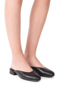 Jeffrey Campbell Shoes MULA-2 Flats in Black Pebble
