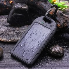 Rainproof solar charger for iPhone, Android, iPod, and small electronics.