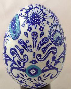 A different Pysanka Easter egg design, made on a goose egg.