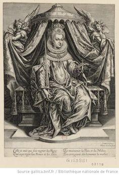Portrait de Marie de Médicis en pied, assise sur un trône, tenant de la main gauche une balance et de la main droite une épée : [estampe] - ...